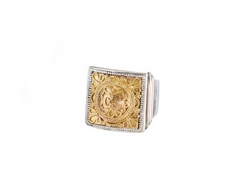 byzantine ring in 18K Gold and sterling silver