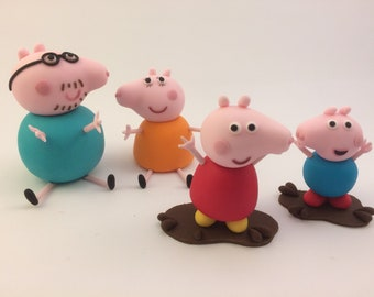 Peppa Pig Family Edible 3D Daddy Mummy George Muddy Puddle Cake Topper Figurines Birthday Party