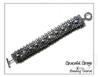 Beading Pattern, Ladder stitch bracelet with 4mmcube beads Instructions, DIY Beaded Jewelry Bracelet Beading Tutorial,  GRACEFUL GREYS