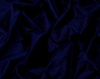 "Iridescent Midnight Blue Dupioni Silk, 100% Silk Fabric, 44"" Wide or 54"" Wide, By The Yard (S-154)"