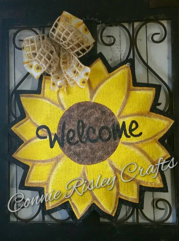 Summer And Fall Sunflower Burlap Door Hanger Decoration