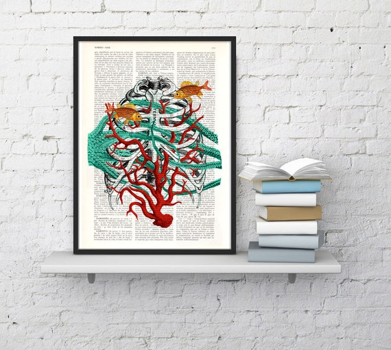 Human Sternon at the seabed, artistic human anatomy Art Print -Human anatomy print science and geek gift, art SKA091