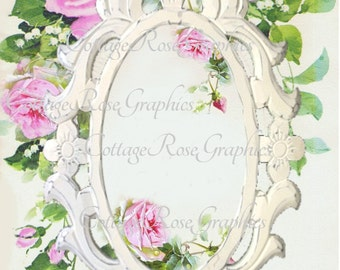 Vintage Pink Roses Frame image Large digital download ADD your own text BUY 3 get one FREE