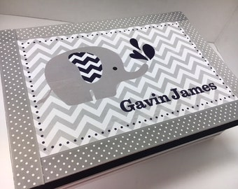 Gray Navy Chevron w Elephant Keepsake Box-Newborn, Birthday, Baptism, Bris, Adoption