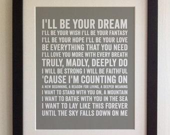 Framed lyrics print james arthur recovery 20 colours