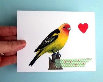 Valentine's Bird Card, Watercolor Card, Watercolor Bird, Greeting Card, Bird Art, bird print, western tanager, yellow bird art blank card