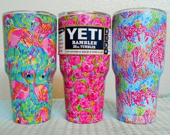 SALE! 33.00/ 30 Oz Tumbler/ FLAMINGO Or ROSES Pattern/Custom Wrap Stainless Steel Rambler Mug/New In Box/No Sweat Design/Keeps Ice  Hrs.!