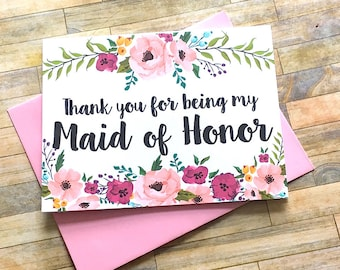 Maid of Honor Thank You Card, Thank You For Being My Maid of Honor, Wedding Thank You, Thank You Maid of Honor, Bridesmaid Card - MULBERRY