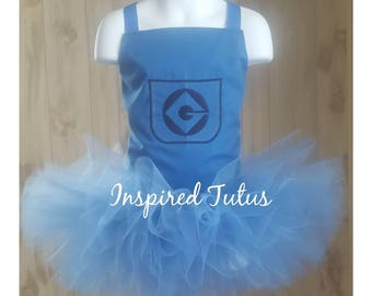 Minions corset top with sewn tutu on an elastic waistband.  Perfect for Halloween costume, birthday party, or dress up.