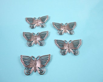 Silver Butterfly - Butterfly Charm - Antique Silver Charm - Antique Butterfly - Gunmetal Butterfly - Gunmetal Charms - Insect Charms - Bug