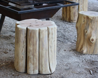 Tree end table, timber side table, rustic home decor, stump table base, tree trunk, bar seat, live edge seat, 3 sizes, paint + stain