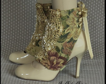 Steampunk Spats TAPESTRY SPATS Victorian Spats Vintage Ivory LACE and Pearls Lace Up Spats