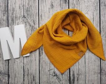 Triangular scarf muslin cloth burb bandana muslin cloth baby bandana children's scarf hipster Hipstertuch mustard mustard yellow ocher ochre