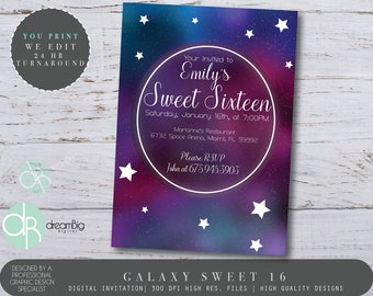 Galaxy Nebula Sweet 16 Space Party Galaxy Invitations Sweet 16 Quince Sweet 15 Invites Outer Space Pink and Blue Nebula Under the Stars 16