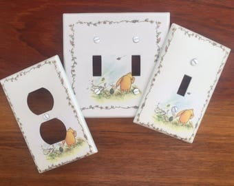 Classic Winnie the Pooh Light switch cover baby nursery // piglet holding hands // SAME DAY SHIPPING**