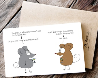 Funny Printable Christmas Card with Mice and Martinis