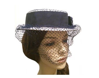 Vintage Banded Straw Veiled Hat | Gibson Girl | 1920s Fashion | 1920s | Antique Hat
