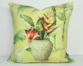 Tropical Decorative Pillow Cover, Yellow Cushion Cover, 20 x 20, Throw Pillow Cover