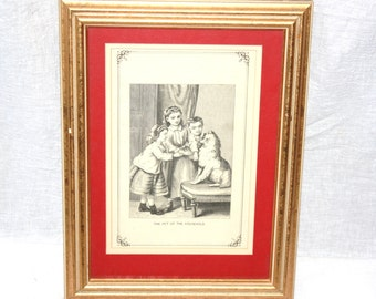 Vintage Edwardian Framed Print Children and Pet Dog