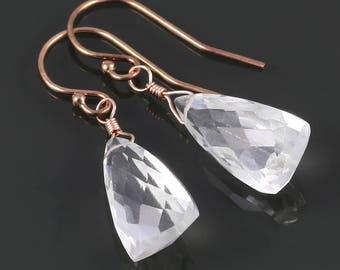 Crystal Quartz Earrings. Rose Gold Filled Ear Wires. Triangle Shape. Genuine Gemstone. April Birthstone. s17e012