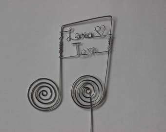 Music Wedding Cake Topper, Personalized Notes: MUSIC Of THE HEART