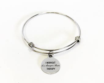 I Workout It's Cheaper Than Therapy Expanding Bangle Charm Bracelet, Stacking Exercise Jewelry, Exercise Partner Gift Love to Exercise