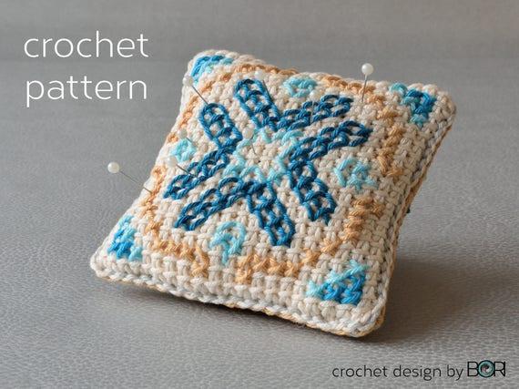 crochet and cross stitch pincushion pattern, pillow, cushion, diy ...