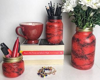Red & Black Marble Mason Jar - Red Flower Vase - Makeup Brush Holder - Dorm decor - Makeup Storage - Stationary storage - Desk decor
