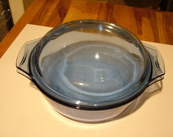 Vintage Pyrex Casserole Dish with Lid Sapphire Blue