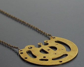 Steampunk Necklace- Upcycled Clock Part Brass Steampunk Jewelry, Industrial Jewelry, Statement Necklace, Contemporary Jewelry