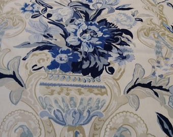 Six yards white background with blue pattern fabric