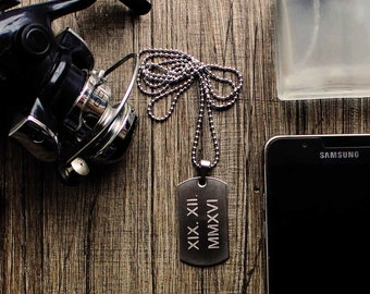 custom date necklace for men // date charm necklace // silver boyfriend necklace // necklace for men personalize // Men personalized dog tag