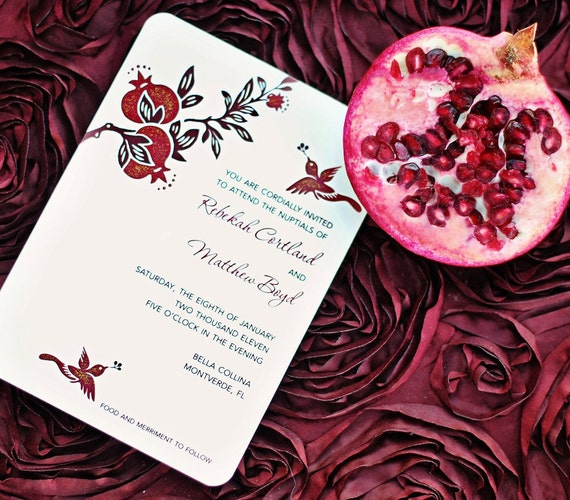 Armenian Wedding Invitations: Pomegranate Wedding Invitations Hand Painted Embellished In