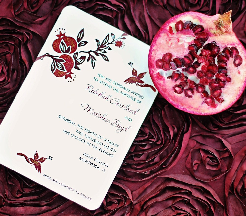 Pomegranate Wedding Invitations Hand Painted Embellished In