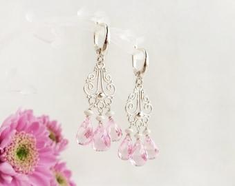 Pink topaz 925 sterling silver dangle drop chandelier leverback earrings, blush pink gemstone teardrop earrings, pastel rose wedding jewelry