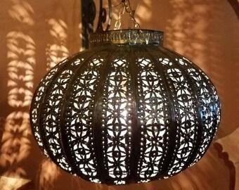 Turkish Moroccan Handmade Copper Finish Metal Lantern - Basket