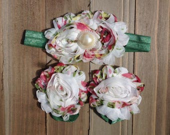 Floral Baby Girl Headband, Baby Headband & sandals set, Baby Barefoot Sandals,  Pearl Flower Set Photo Props, ready to ship, AS IS