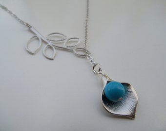 Bridesmaid Lariat, Silver Lariat with Five Leaf Branch, Calla Lily, Turquoise Bead, Version 2