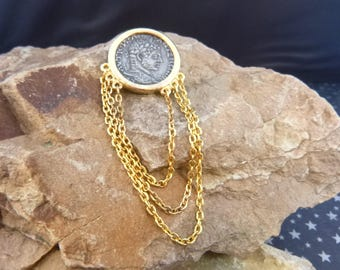 Ancient Roman Silver Coin Set in Gold Tone Vintage Brooch with Dangling Chains