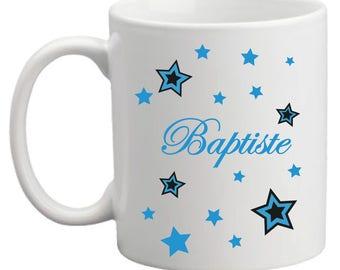 Model name mug, Star (blue)