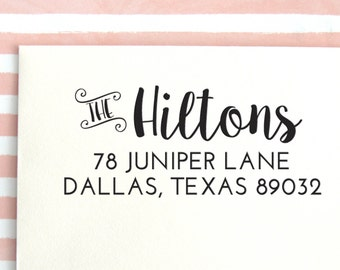 Vintage Style Self Inking Address Stamp | Return Address Stamp | Self Inking stamp | Wood Block Stamp | Personalized stamp - No. 77
