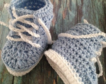 Boy Baby Shower Booties | Handmade Crochet Blue & White Baby Boots | Newborn Boys Bootees | Boy Baby Shower Gift | Baby Crib Shoes