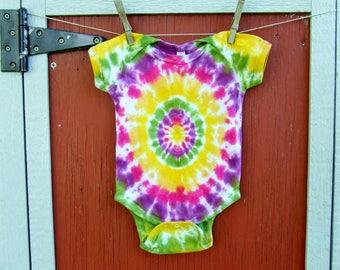 12m Tie Dye Baby Onesie - Summer Burst - Ready to Ship