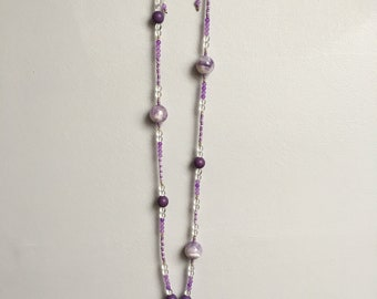Adjustable necklace Pearl rock crystal, agate and seed beads