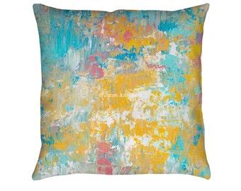 Winter Sunrise Printed Throw Pillow. Apartment and Dorm Decor, Sofa Cushion, Modern Art Pillow, Abstract Art Pillow, Pastel Throw Pillow