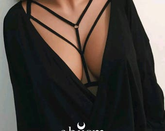 Harness body Bra Black minimal arrow two thin ribbons