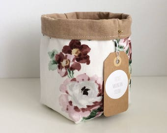 Brown & Floral Fabric Planter Bin