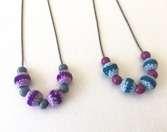 Colorful Retro Crochet Bead Copper Necklace, Purple Necklace, Green Necklace, Fun Necklace, Ball Necklace, Christmas Gift, Gift for her, Cut