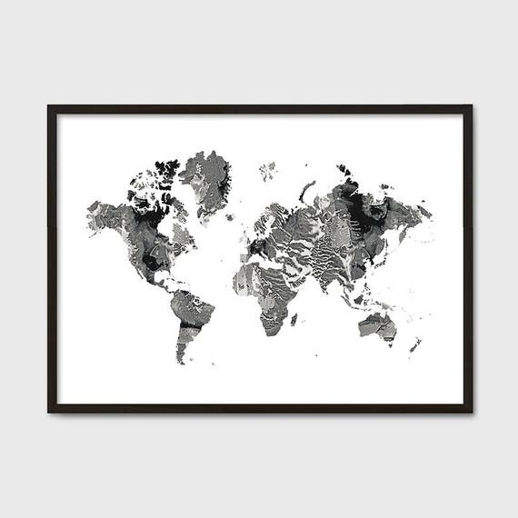 World map poster marble large world map affiche scandinave gumiabroncs Choice Image