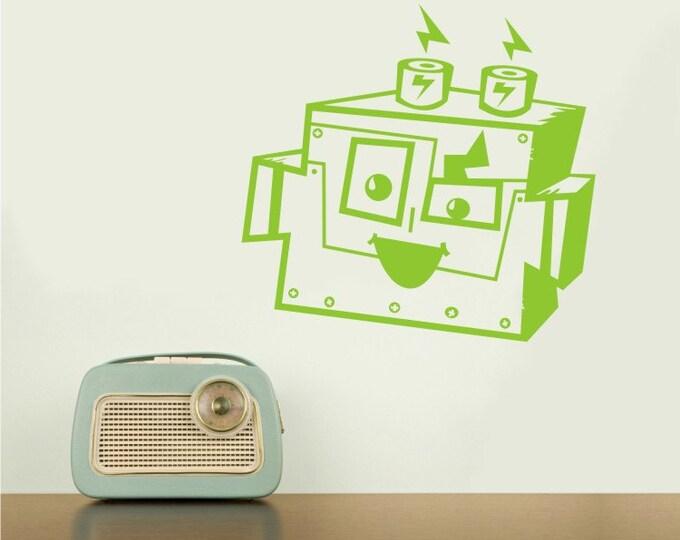 robot vinyl wall decal, BOLTZ character, boys room wall sticker, FREE SHIPPING